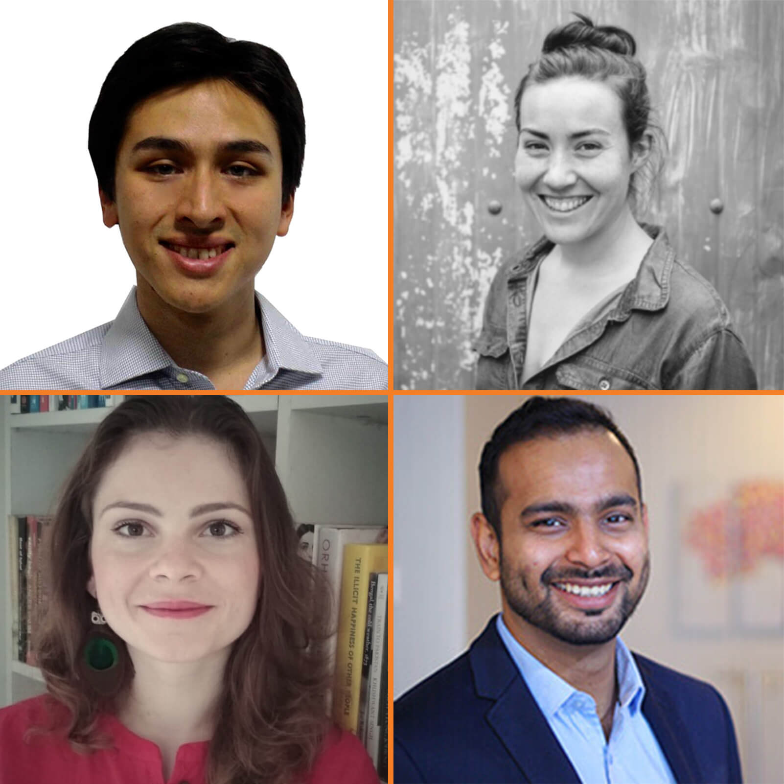 Scholars 2018-19 - (clockwise from top left - Alex Wankel, Julie Greene, Mohsin Mustafa and Daniela Gheorghe.