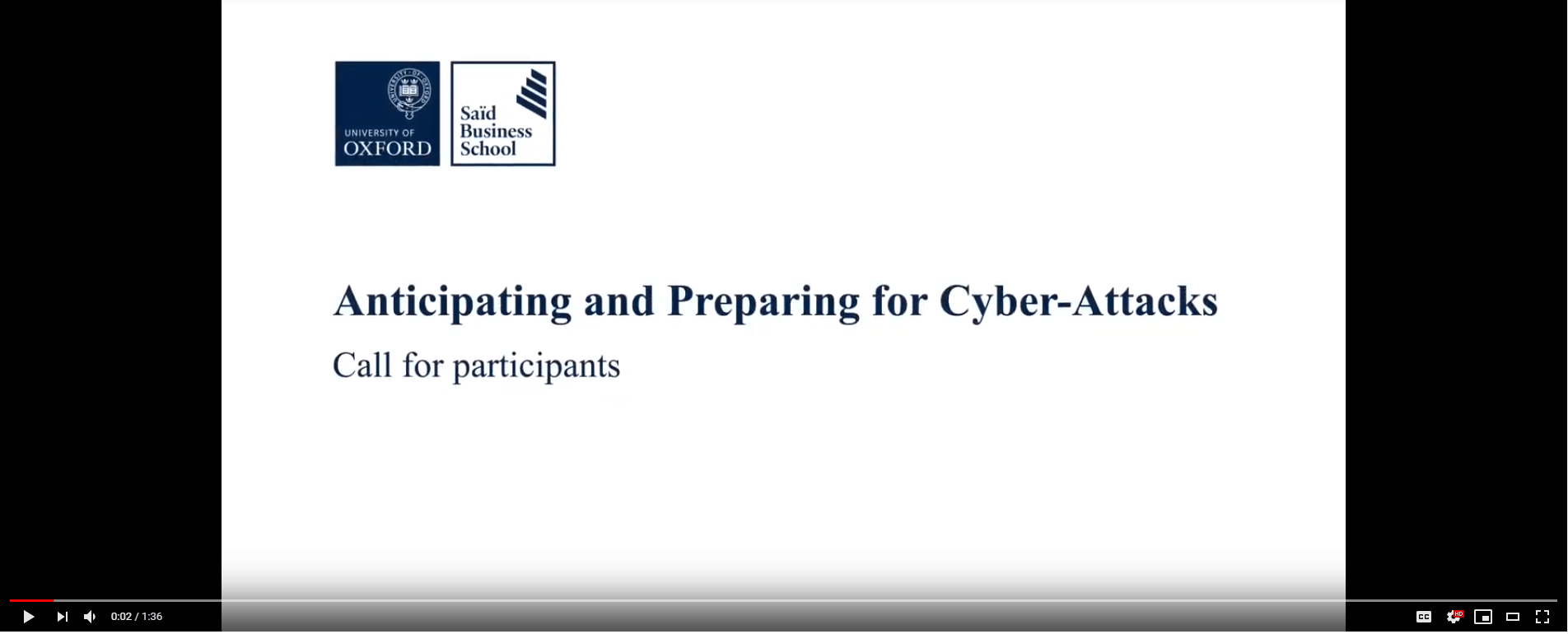 Call for participants: Anticipating and preparing for cyber attacks