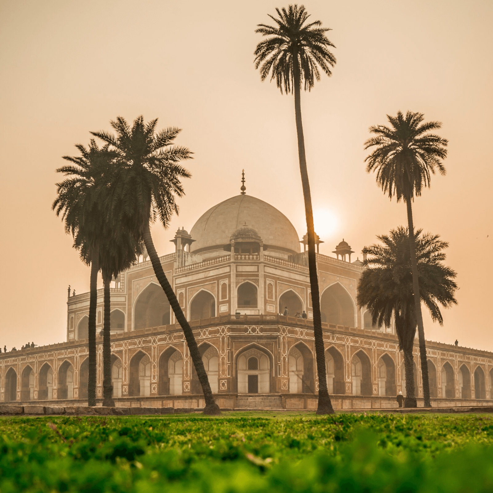 Delhi building at sunset