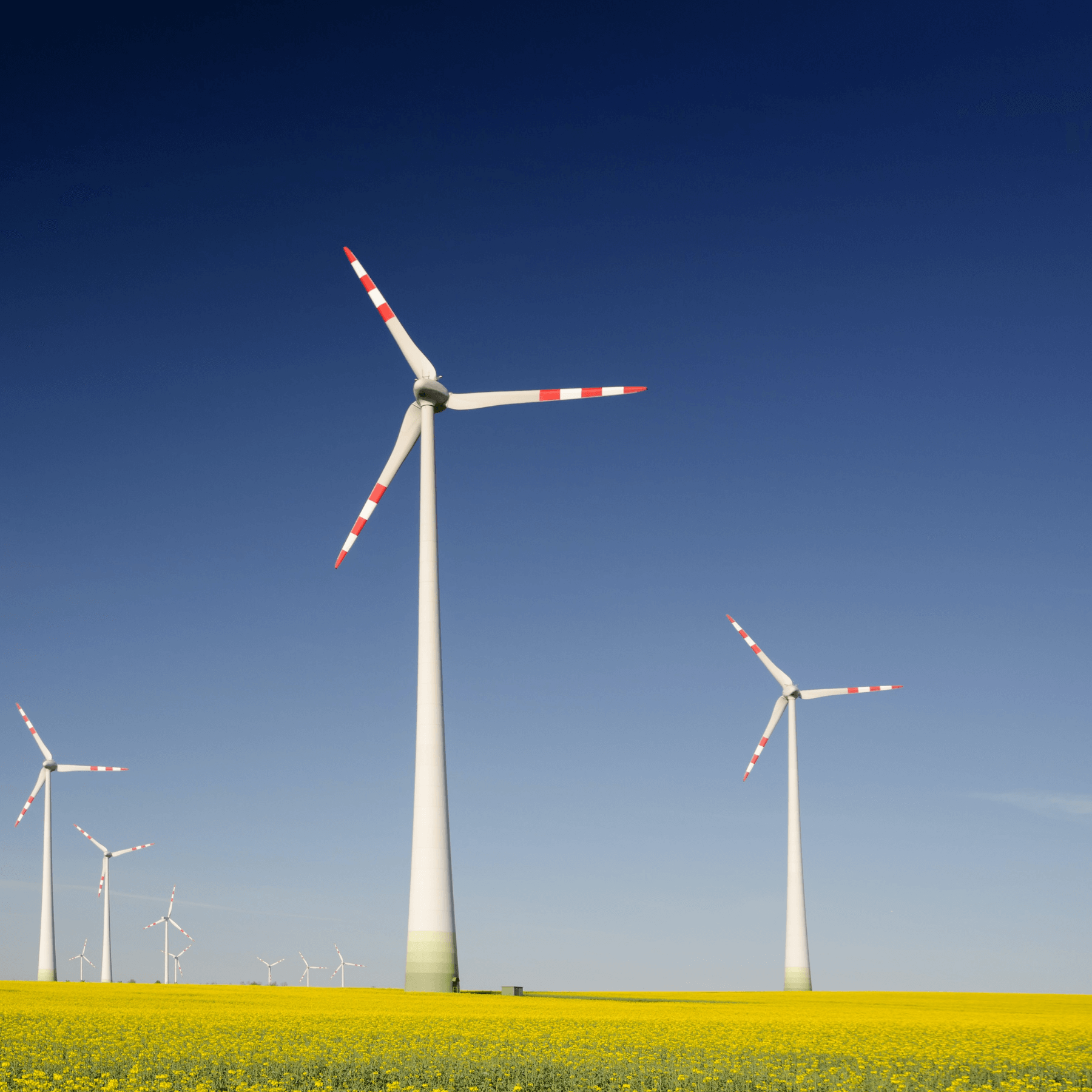 Four wind turbines in a green field with blue skies
