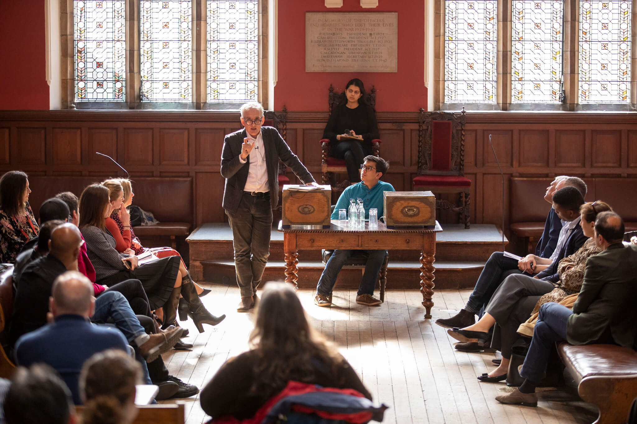 Sean Hinton in the Oxford Union Debating Chamber.