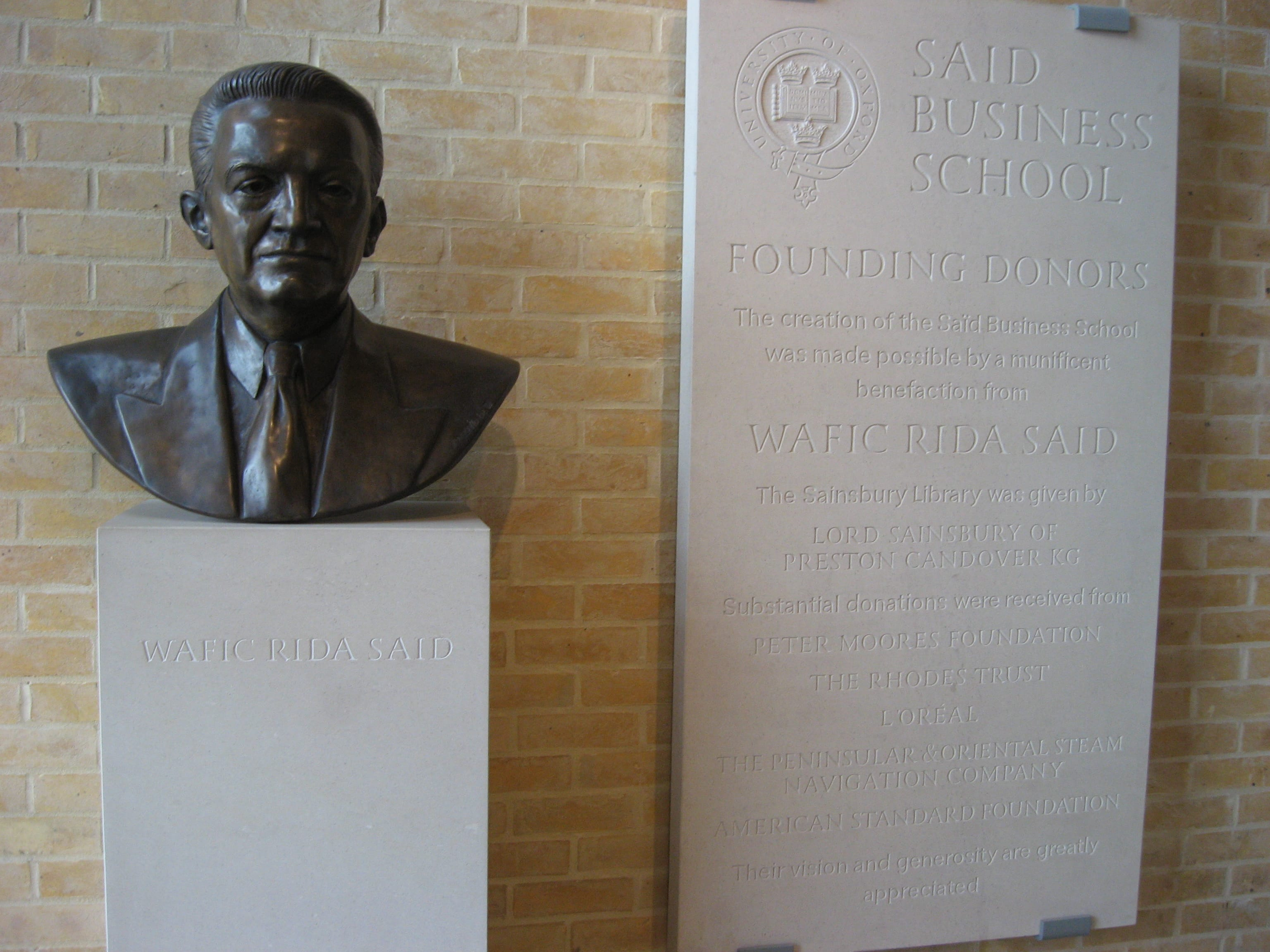 Wafic Saïd bust and plaque