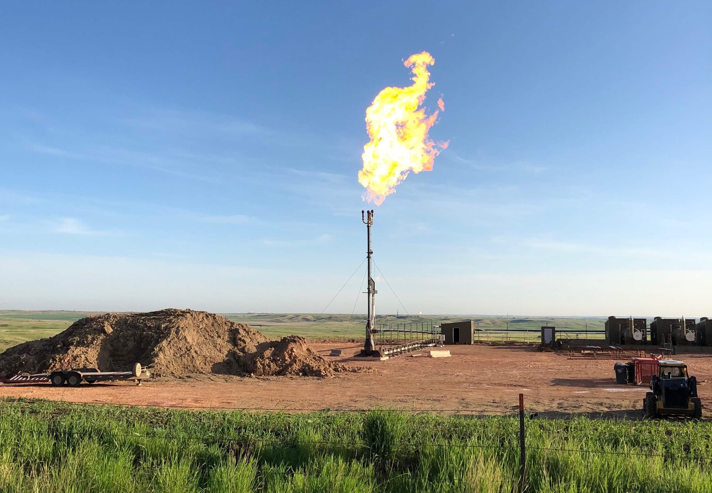 Gas flaring in oil field