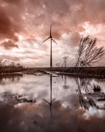energy turbine in front of extreme weather