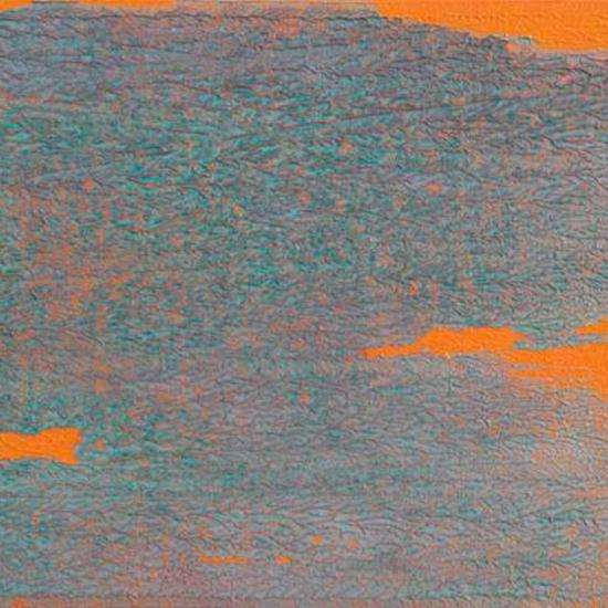 Abstract painting in orange and blue
