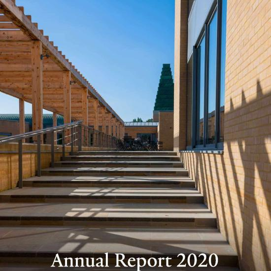 annual report front cover showing view of said business school