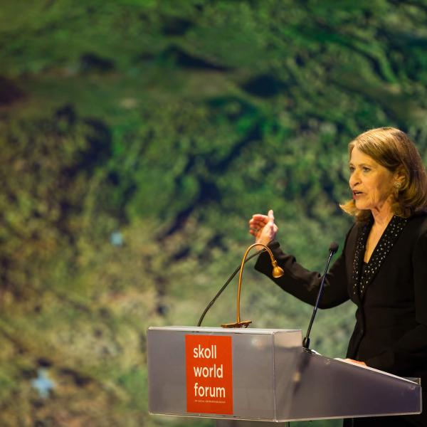 Sally Osberg, talking at the Skoll World Forum