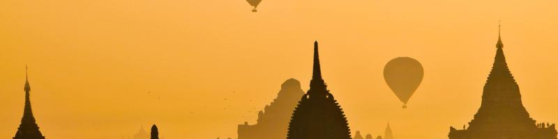Hot air balloons in Indian skyline