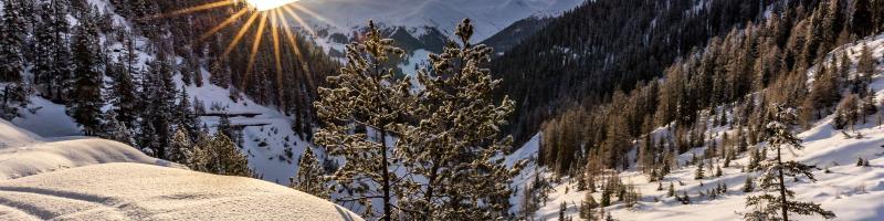 Davos sun rise over the mountains