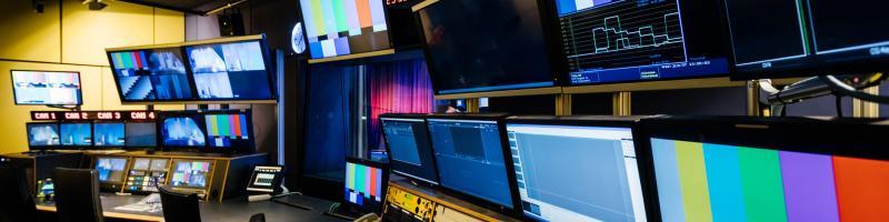 The interior of a TV studio mixing desk