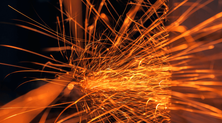 orange sparks with dark background