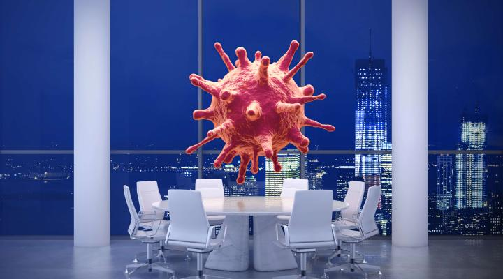 giant virus floating above round table