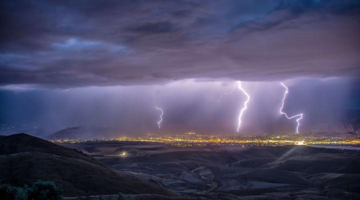 turbulent times: stormy sky with lightning